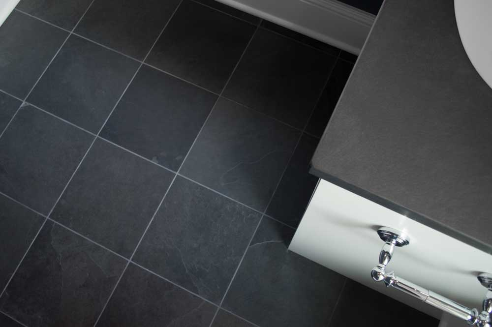 Caithness Ebano Satin Cleft 12x24 Bathroom Install 002