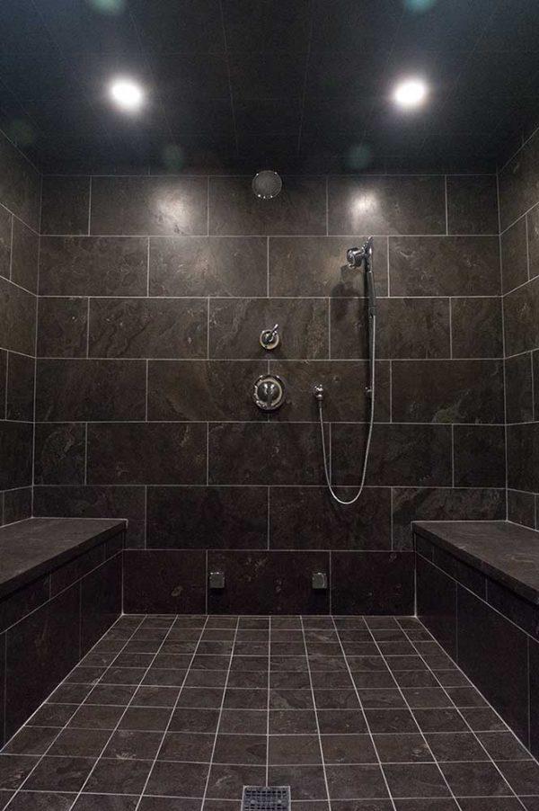 Bleu Fonce Patina 12x24 Bathroom Install 001