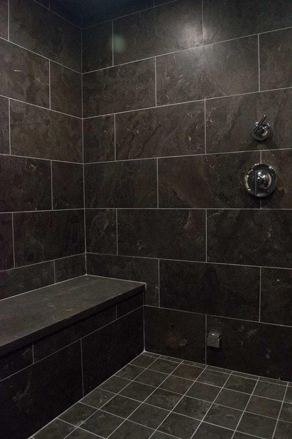 Bleu Fonce Patina 12x24 Bathroom Install 002