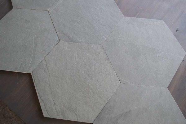 Caithness Graphite Satin Cleft 12x12 Heaxagon 001